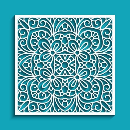 Dekorative Platte mit Spitzemuster, elegante quadratische Verzierung für Laser-Ausschnitt oder Holzschnitzen, dekoratives Element des Ausschnittpapiers.