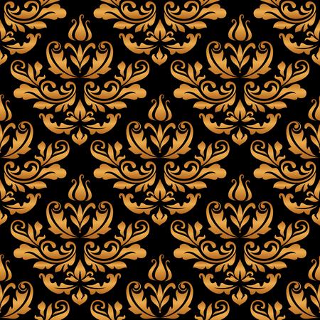 Vintage gold ornament, damask seamless pattern, ornate background with golden swirls on black.
