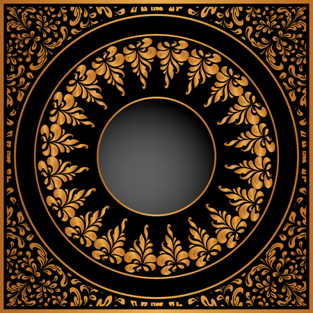 black metallic background: Vintage gold background with floral swirls, ornate frame decoration for packaging design.