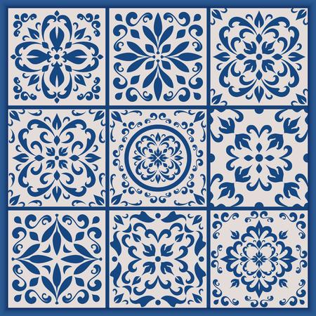 Blue and white ornate Portuguese tiles. Vector azulejo patterns. Simple mandala ornaments. Set of ornamental ceramic tiles in Lisbon style. Decorative maiolica design.