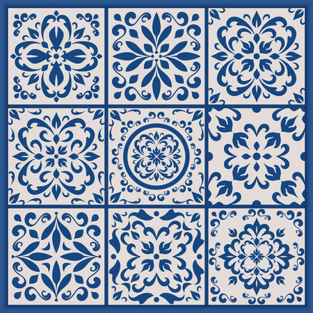 Blue and white ornate Portuguese tiles. Vector azulejo patterns. Simple mandala ornaments. Set of ornamental ceramic tiles in Lisbon style. Decorative maiolica design.