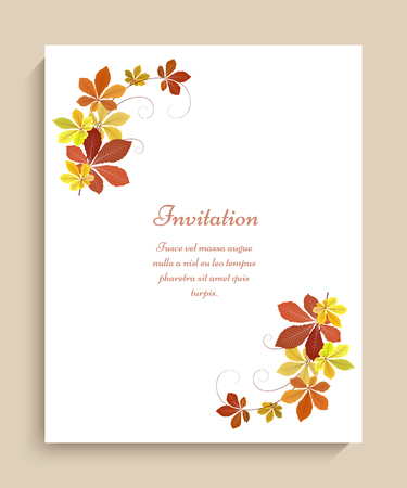 Autumn background with corner decoration of yellow chestnut leaves, vector fall season greeting card or invitation template Иллюстрация