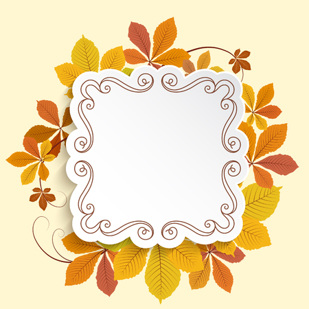 Autumn vector background with cutout paper label and yellow chestnut leaves