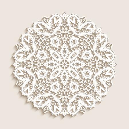 Bobbin lace doily, mandala circle ornament, round crochet pattern, vector snowflake decoration