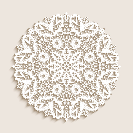 Bobbin lace doily, mandala circle ornament, round crochet pattern, vector snowflake decoration