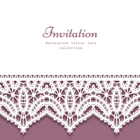 Cutout paper vector background with lace border pattern