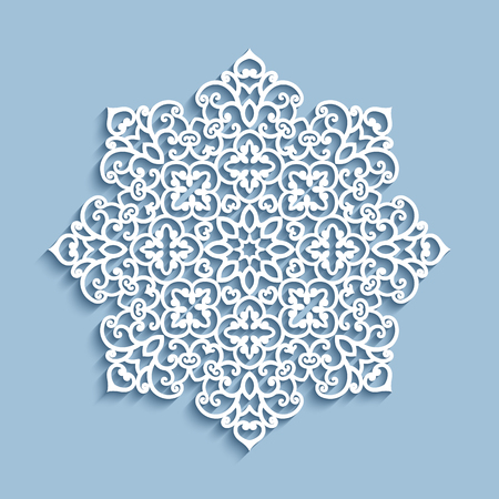 Cutout paper lace doily, vector snowflake decoration, mandala round pattern,