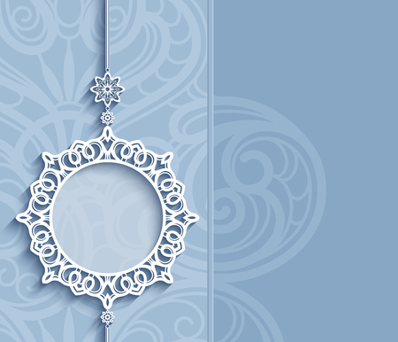 Elegant lace decoration, lacy pendant on ornamental blue background, circle frame, mandala, greeting card, wedding invitation or announcement template