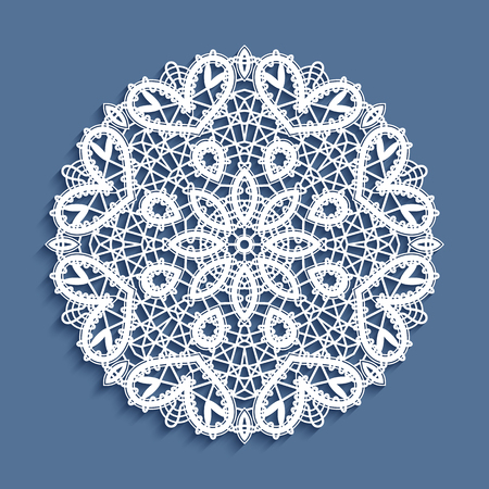 Tatting lace ornament, snowflake decoration, mandala, round crochet doily, circle lacy pattern