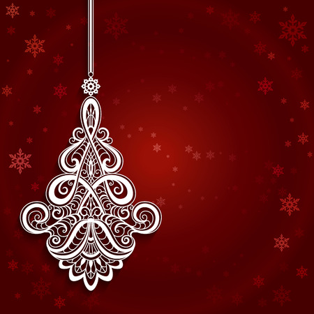 ornamental christmas decoration cutout paper bauble curly lace pendant on red background stock vector