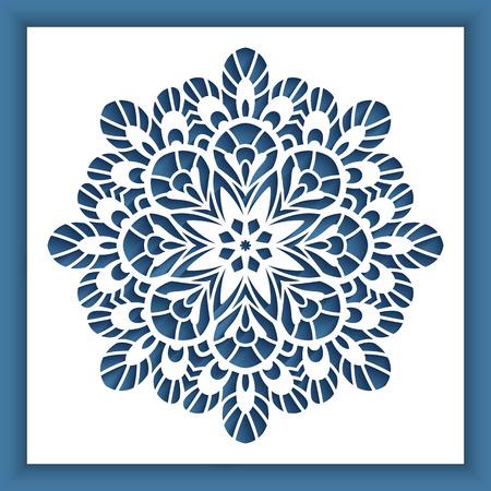 切り抜きラウンドパターン、レーザー切断や木彫りのためのベクトル装飾を持つ正方形のパネル