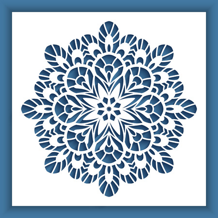 Square panel with cutout round pattern, vector decoration for laser cutting or wood carving