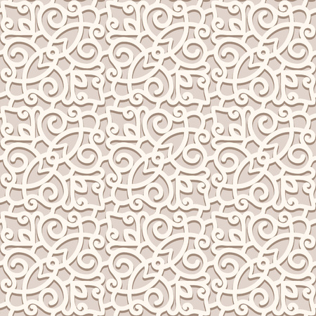 Vintage beige background, vector lace texture, seamless pattern in light color
