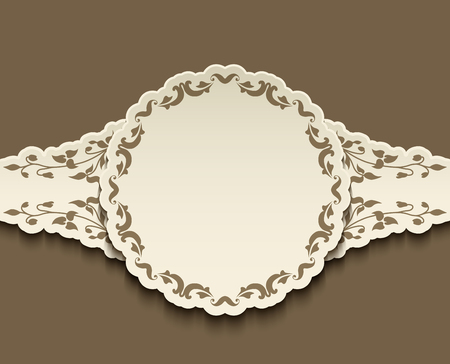 Vintage label, cutout paper sticker, vector round frame with curly border, vignette decoration for wedding invitation card template, suitable for laser cutting