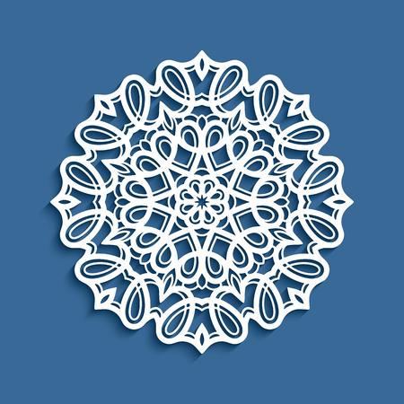 ラウンド レース ドイリー、ベクター装飾的な雪の結晶、切り絵型紙、曼荼羅サークル飾り, レーザー切断や木彫りに適して