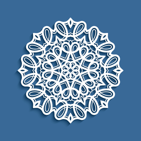 Round lace doily, vector decorative snowflake, cutout paper pattern, mandala circle ornament, suitable for laser cutting or wood carving Vettoriali