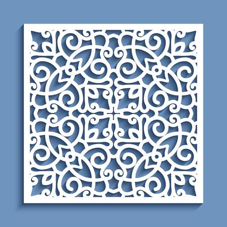 Panneau décoratif avec motif de dentelle, modèle ornemental vecteur carré pour la découpe laser ou la sculpture sur bois, élément de conception de papier découpé