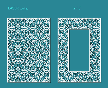 Elegant panels with lace pattern, vector ornament and rectangle frame for laser cutting or wood carving, cutout paper design.