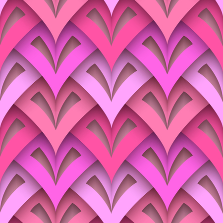 Cutout paper texture, abstract geometric seamless pattern in pink colors.