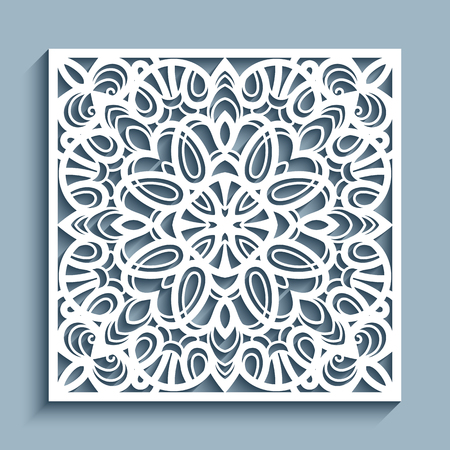 Decorative panel with lace pattern, square ornamental template for laser cutting or wood carving, cutout paper design element, elegant background for wedding invitation card  Illustration