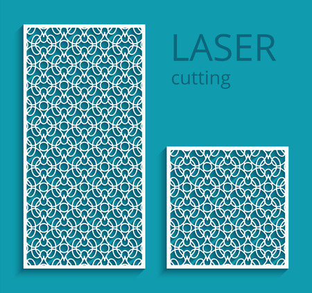 Elegant panels with lace pattern, swirly lattice ornament, template for laser cutting or wood carving, cutout paper design, decoration for wedding invitation card