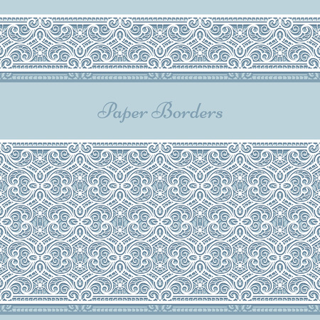 Lace ribbons, cutout paper border patterns. Ornamental lacy decoration for greeting card or wedding invitation design Illustration