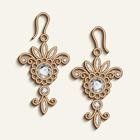 Vintage gold jewelry earrings with diamond gemstones, vector jewellery pendants, filigree womens decoration on white