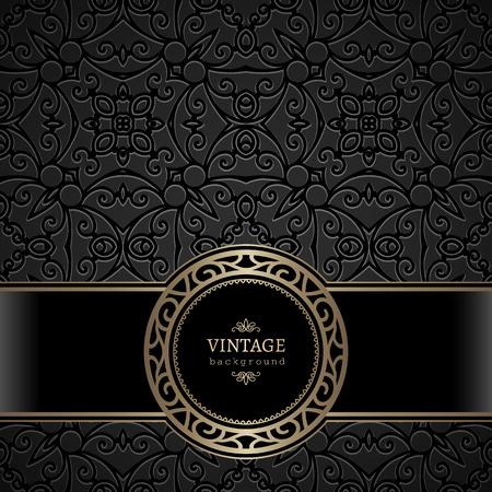 Gold round vector frame on vintage ornamental black background Illusztráció