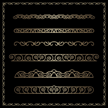 Vector set of gold borders and dividers, vintage decorative ornaments in golden square frame on black