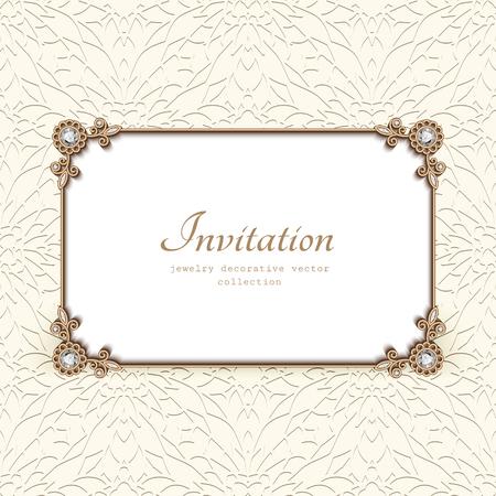 Vintage vector card with diamond jewelry decoration, gold rectangle frame, elegant wedding invitation or announcement template Illusztráció