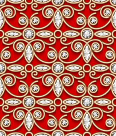 Vintage gold vector ornament, jewelry seamless pattern with diamond gems on red background Illusztráció