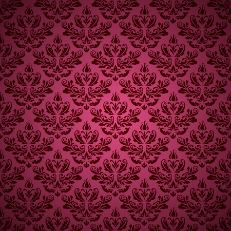 Vintage ornamental vector background, elegant swirly pattern in pink color.
