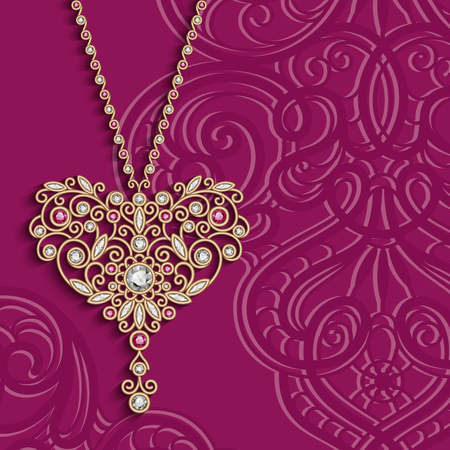 Vintage gold jewelry pendant in shape of heart decorated with diamonds and ruby gems, women's decoration on pink background, vector greeting card or invitation design