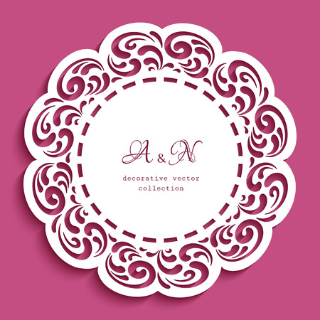 Round lace doily, cutout paper frame with ornamental border, vector template for cutting, circle decoration for wedding invitation card