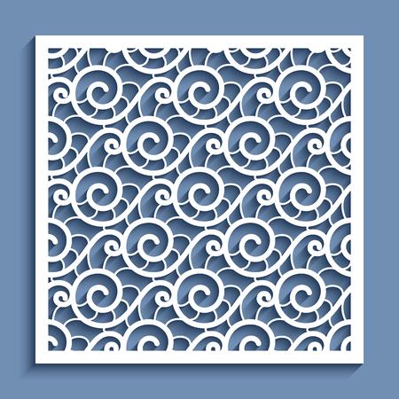 Decorative square panel with wavy lace pattern, ornamental vector template for paper cutting Illusztráció