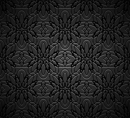 Vintage black ornamental background with filigree vector pattern