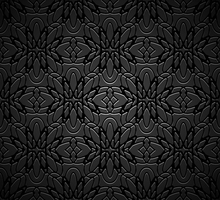 Vintage black ornamental background with filigree vector pattern