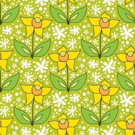Green floral background, vector seamless pattern with simple flowers Illusztráció