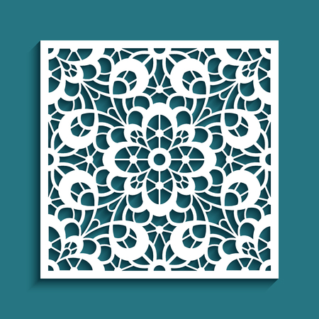 Decorative square panel with floral lace pattern, cutout paper ornament, vector template for cutting