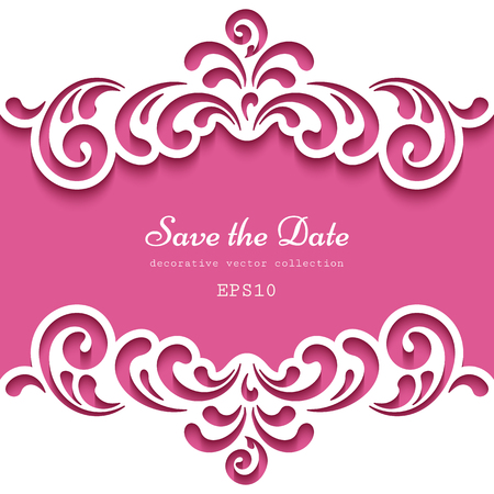 Cutout paper frame with lace borders, template for laser cutting, vector decoration for wedding invitation or greeting card design