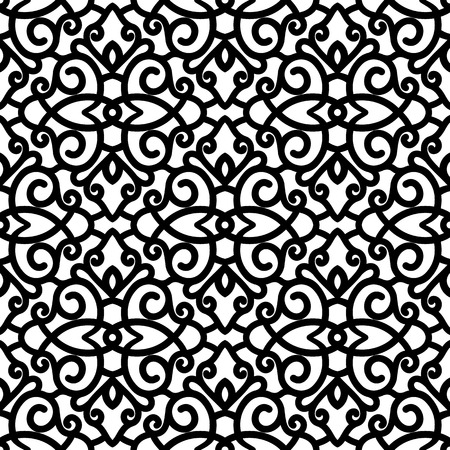 Vintage lace texture, black and white swirls ornament, vector seamless pattern Illusztráció