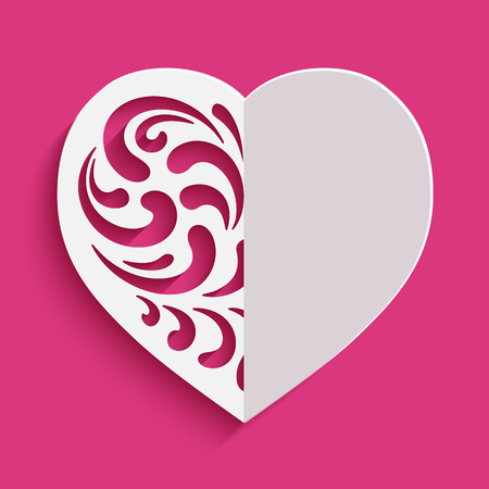 Cutout paper heart silhouette with floral swirls, vector template for cutting, Valentine's Day card design