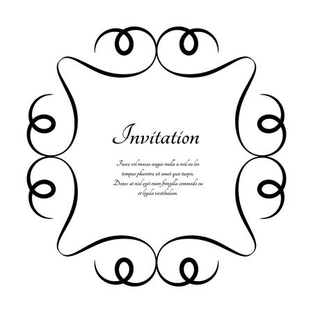 Vintage calligraphic round frame, vector decorative vignette on white