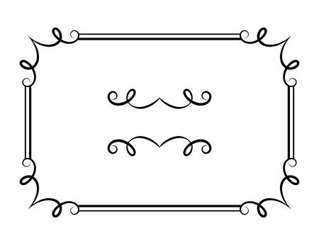 Vintage calligraphic rectangle frame with ornamental border and flourish vignette, vector embellishment in retro style Illusztráció