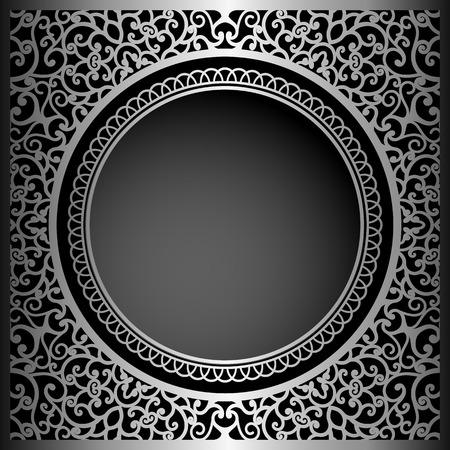 Vintage black background with swirly ornament, vector decoration for packaging design