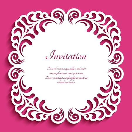 Square frame with lace border pattern, cutout paper ornament, vector template for laser cutting, elegant decoration for wedding invitation card