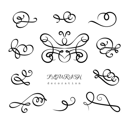 Vintage calligraphic flourishes and curlicues, vector set of decorative design elements in retro style, elegant scroll embellishment on white