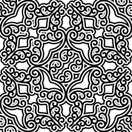 Black and white curly ornament, vintage vector seamless pattern