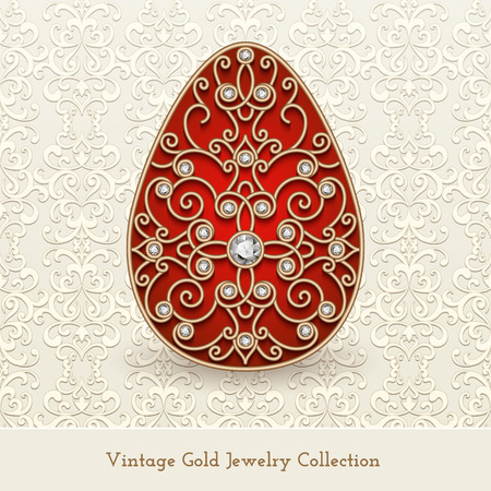 Vintage jewelry gold egg with diamonds, Easter decoration on light background, vector greeting card template