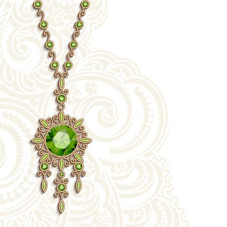 Vintage gold jewelry necklace with green gemstones, women's decoration, vector greeting card or invitation template